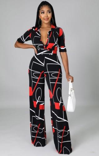 Print Black V-Neck Short Sleeves Jumpsuit