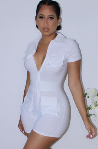 White Turndown Collar Short Sleeves Zipper Up Rompers with Pockets