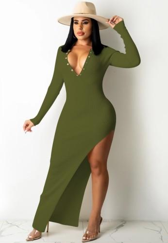 Green Ribbed Snap Button Blackless Irregular Slit Maxi Dress