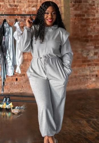 Grey Drawstrings Long Sleeve Loose Jumpsuit