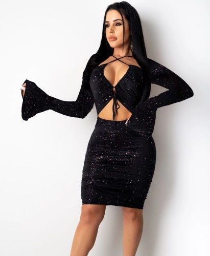 Black Sequin Hollow Out Flare Sleeve Sheath Dress