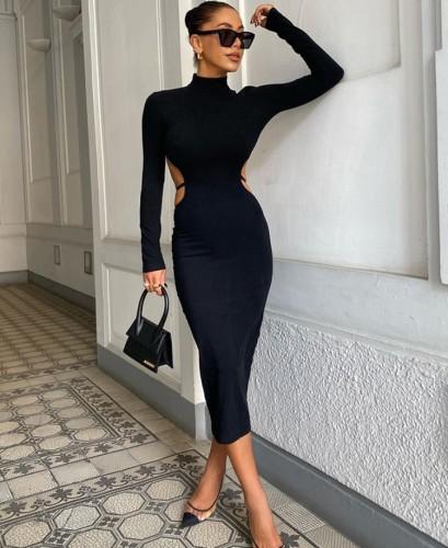 Black Cut Out Long Sleeve Turtleneck Slit Long Dress