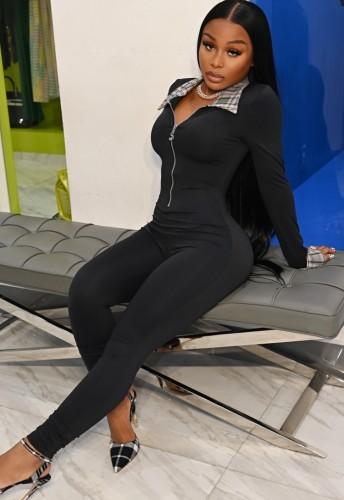 Black Plaid Turndown Collar Zipper Up Tight Jumpsuit