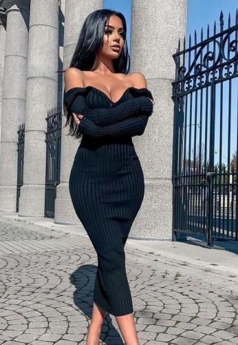 Black Ribbed V-Neck Long Sleeves Long Bodycon Dress