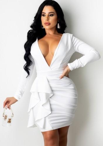 White Deep-V Long Sleeve Ruffled Ruched Slinky Dress