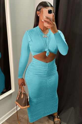 Blue Twist O-Neck Cut Out Long Sleeve Ruched Tight Long Dress