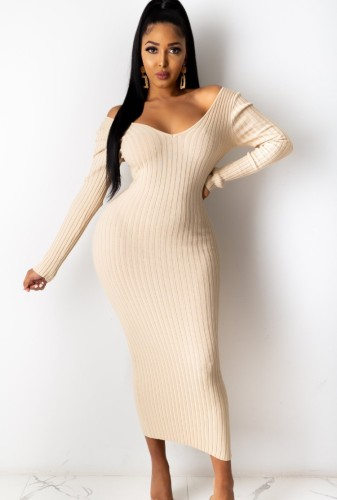 Beige Ribbed V-Neck Long Sleeves Long Bodycon Dress