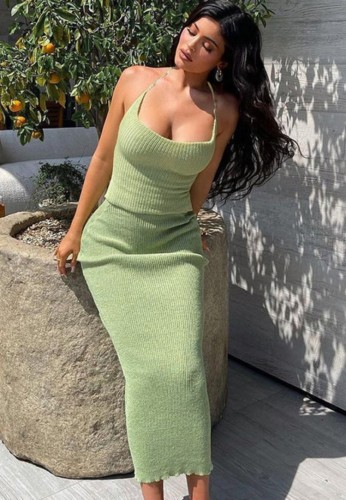 Green Ribbed Sleeveless Halter Long Dress
