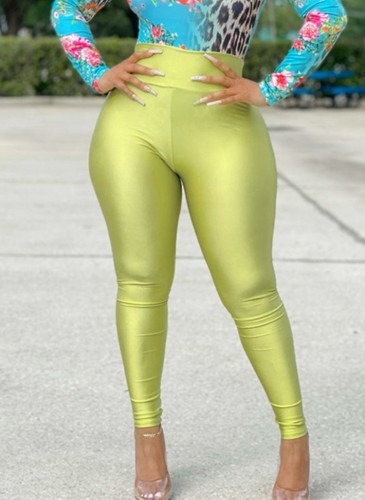 Green High Waist Slim Fit Leggings