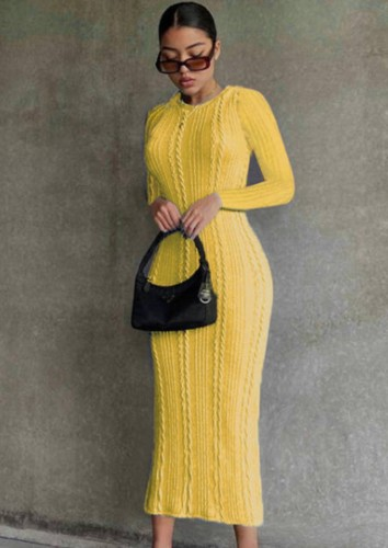 Yellow Knitted Long Sleeve O-Neck Slinky Long Dress