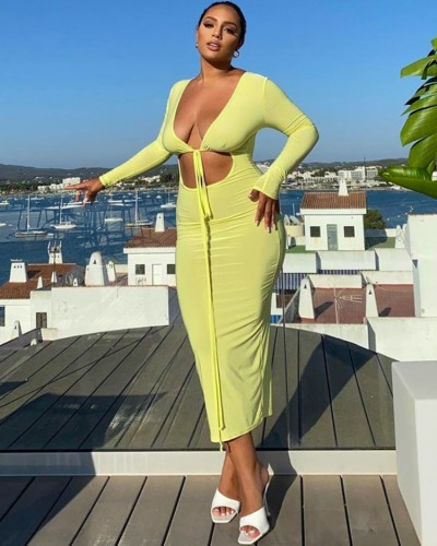 Yellow Cut Out Long Sleeve V-Neck Long Dress