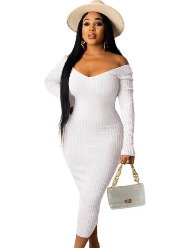 White Ribbed V-Neck Long Sleeves Long Bodycon Dress