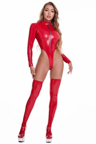 Red Strechy Patent PU Leather Bodysuit Lingerie
