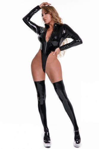 Black Strechy Patent PU Leather Bodysuit Lingerie
