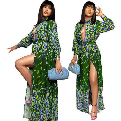 Print Green Sexy Keyhole Long Sleeve Maxi Dress