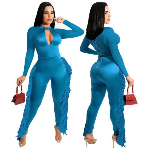 Keyhole Blue Sexy Tassel Bodycon Jumpsuits