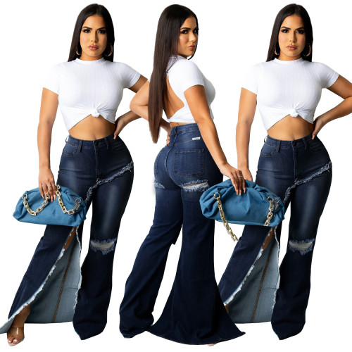 Stylish Slit Blue Ripped High Waist Flare Jeans