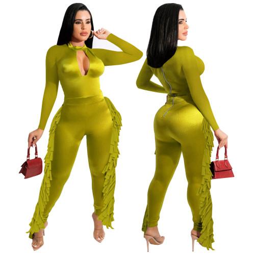 Keyhole Neon Green Sexy Tassel Bodycon Jumpsuits