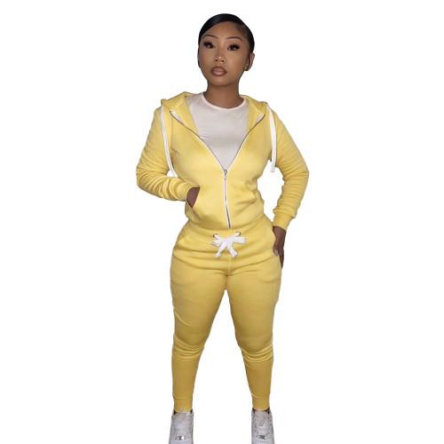 Winter Warm Yellow Zipper Hooded Tracksuit