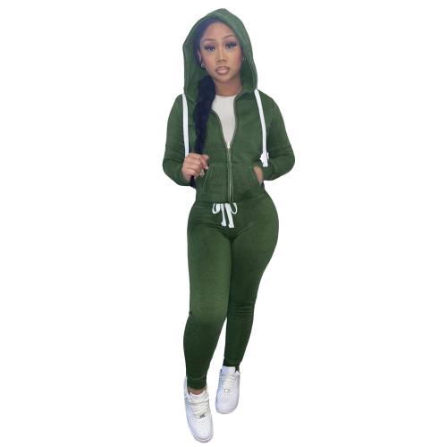 Winter Warm Green Zipper Hooded Tracksuit