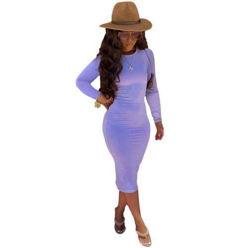 Purple Long Sleeve Bodycon Midi Dress