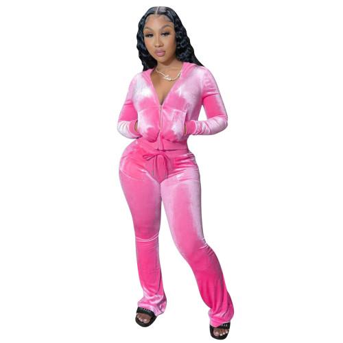 Pink Velvet Zipper Open Long Sleeve Hoody Top and Pant Two Piece Set