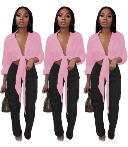 Pink Tie Front Long Sleeve Crop Top