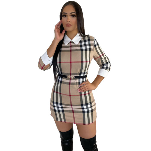 Plaid Print Collar Fit 3/4 Sleeve Mini Dress