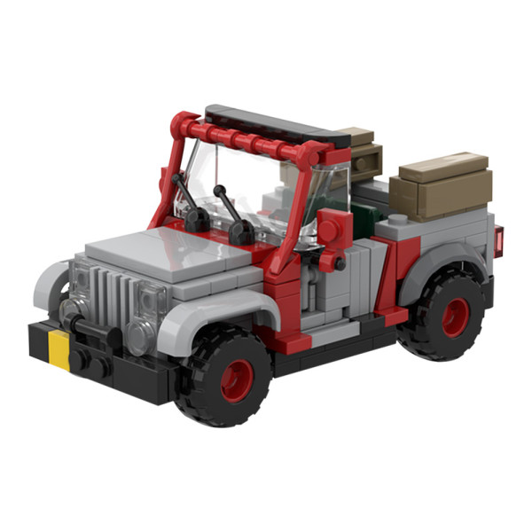 MOC-48563 Jurassic Park Staff Jeep with Open Top by Miro