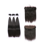 HD Lace 13*4 Transparent Lace Frontal with 3 Bundles Human Virgin Hair Natural Color