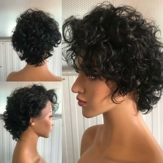 Short Curly Bob Natural Color Human Hair 100% Virgin Hair 150% Density