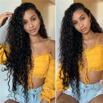 Water Wave Brazilian Human Hair Wig Natural Color  Pre Plucked
