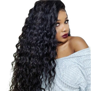 Full Lace Wig Water Wave Natural Color Human Hair For Black Women