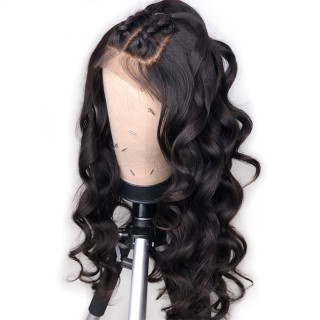 Loose Wave Lace Front  Wigs Natural Color Brazilian Human Hair