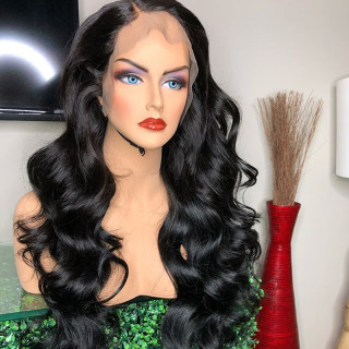 250% Density Loose Wave Lace Front Wig Natural Color Human Hair For Black Women With Baby Hair