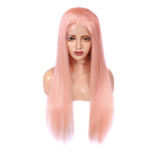 Pink Color Wig Human Hair Straight 100% Virgin Hair