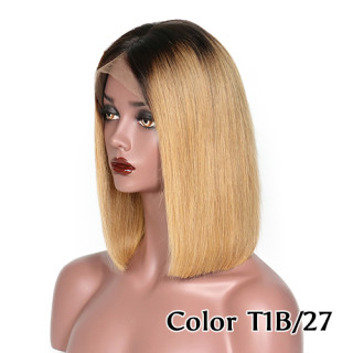 Color Bob 13*4 Lace Front Wig 100% Human Hair 150% Density Straight Style