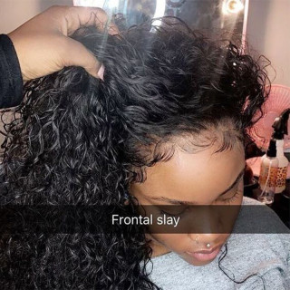 250% Density Curly 13*4 Lace Front Wig Human Hair With Baby Hair Natural Color