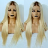 4/613 Color Human Hair Full Lace Wigs Straight Body Wave 150% Density