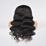 Machine Made Wig Body Wave Human Hair Natural Color With Band