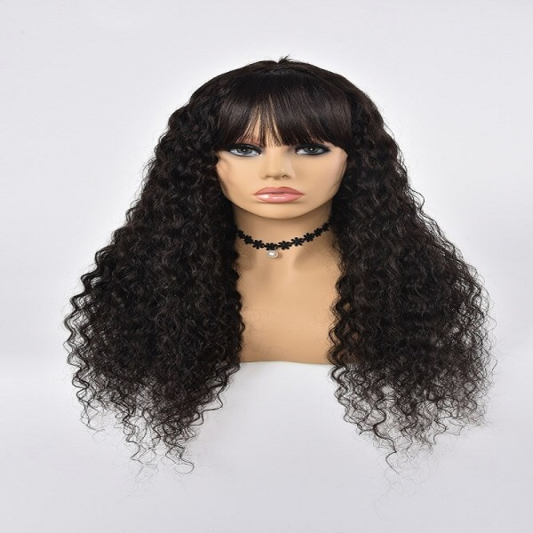 Machine Made Wig Water Wave Human Hair Natural Color With Band
