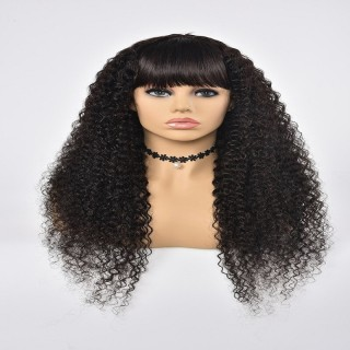 Machine Made Wig Jerry Curly  Human Hair Natural Color With Band