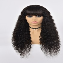 Machine Made Wig Deep Wave  Human Hair Natural Color With Band