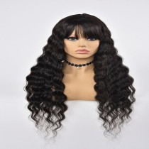 Machine Made Wig Loose  Wave Human Hair Natural Color With Band