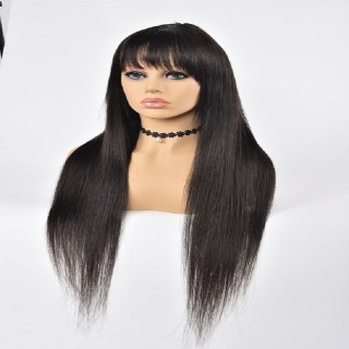 Straight  Stock Wig Human Hair Natural Color Machine Made Wigs