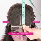 Deep Wave 4x4 Lace Closure Wig 100% Human Hair Wigs  150% Density  Medium Cap Size