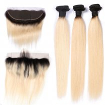 #613 Color Virgin Human Blonde Hair 3 Bundles with Lace Closure & 613 Lace Frontal