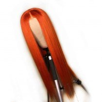 Orange Color Wig Human Hair 100% Virgin Hair Straight Style