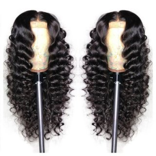 Human Hair Wig Loose Deep Wave Natural Color With Baby Hair