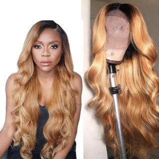 1b/27 Body Wave Full Human Hair Wigs Lace Front Wig With Baby Hair